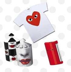 Comme des Garcons T-shirt, Fornasetti Profumi Candles, St Dupont Minijet Lighter