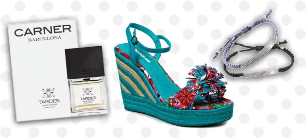 From left: Tardes by Carner Barcelona, Desigual Shoes (available in-store), CZ Tai braided bracelets (available in-store)