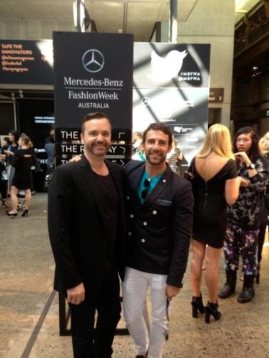 at Fashion Week Sydney with friend Jason Minty