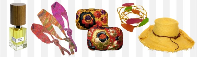 Hindu Grass by Nasomatto, Missoni Headband, Serpui Marie Woven Clutch, Susan Hannover Bracelets, Lisa Battaglia Hat